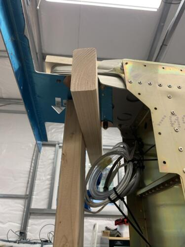 LH Wing Panel Assembly on Vertical Stand - Underside View at Root Main Spar