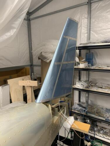 Vertical Stabilizer Cleco'ed in Position