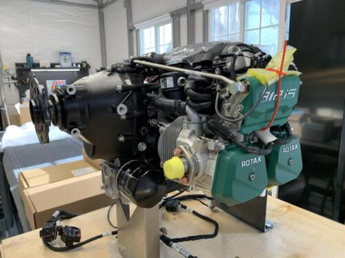 Rotax 912iS Sport Engine on Factory Shipping Stand